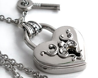 RESERVED - Key to My Heart - Victorian Style Padlock Necklace
