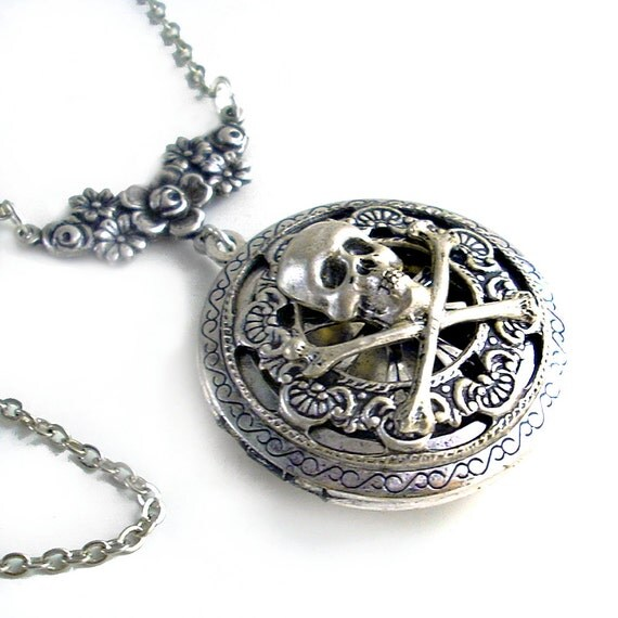 Pirate Plunder - Round Silver Scent Locket Necklace Jewelry
