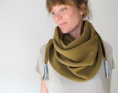 wool shawl with cashmere in camel with faux suede tassels