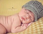 Baby Hat, Gray Baby Boy Hat, Newborn Photo Prop, Newborn Photography Props, Baby Newsboy Hat, Crochet Baby Hats,  Size Newborn