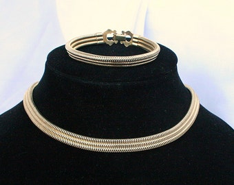 Modernist Choker Necklace Bracelet Set Vintage Serpentine Heavy Gold Finish Square Snake Chain
