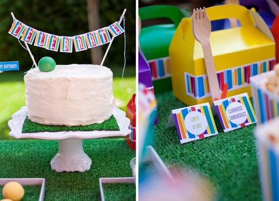Mod Stripe Birthday PRINTABLE Party Collection - You Customize EDITABLE TEXT Instant Download