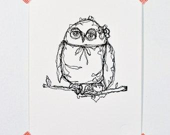 Owl Bride  - Letterpress Print
