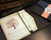 Reserved for Theresa and Lauren, Balance of Fall Vintage Book Wedding Invitation, RSVP, Pocketfolds, Etc