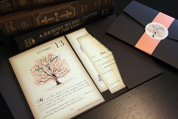 sample fall vintage book wedding invitation pocketfold, Wedding invitations