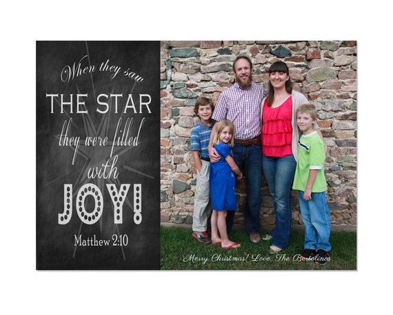 items similar to customized chalkboard art digital christmas card template matthew 2 10 joy