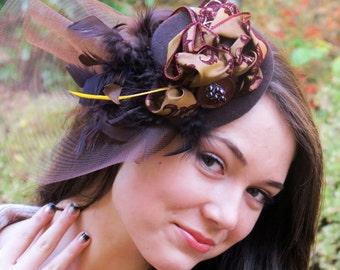 Brown Chocolate Fascinator - Feathers Crin Broach Fascinator Mini Hat RASPBERRY TRUFFLE