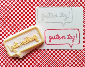 guten tag stamp. hello hand carved rubber stamp. speech bubble message stamp. greeting card making. gift wrapping. snail mail crafts