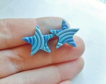 SALE 40% OFF- Blue Filigree Star Earrings