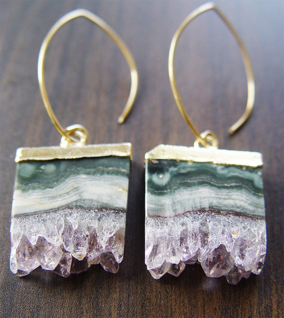 Amethyst Stalactite Druzy Earrings 14k Gold