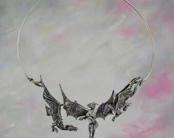 Dragon Trio Fantasy Jewelry Necklace in Sterling Silver