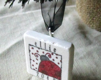 Personalized Ladybug Christmas Ornament - Year Tree Holiday Keepsake