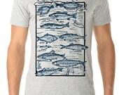 fishing shirt - fishing gift - fishing tshirts - mens tshirt - gift for him - fly fishing - sailing gift - nautical shirt -GO FISH-crew neck