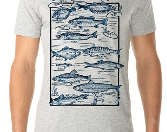 fishing shirt - fishing gift - fishing tshirts - mens tshirt - gift for him - fly fishing - sailing gift - nautical shirt -GO FISH-crew neck