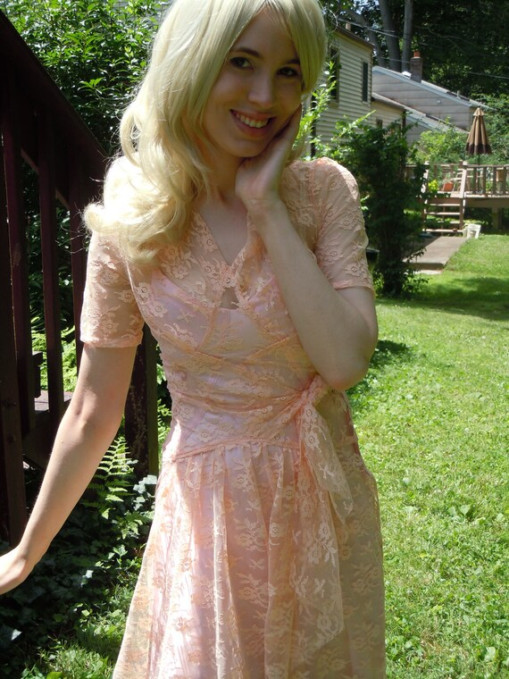 "Peek-A-Boo SEXY 1940's Reproduction Lace ""Ilsa"" Dress  SAMPLE Sz SMALL"