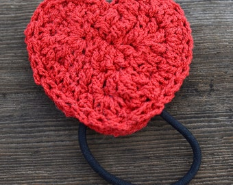 Red Crochet Heart Hair Tie