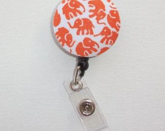 Retractable ID Badge Holder - Fabric Button -  Orange elephants