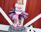 First Birthday Girl Outfit, Cow, Farm, Pink and Black, Bodysuit, Bloomers, Legwarmers