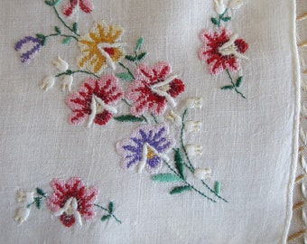 Vintage Handkerchief Embroidered Petit Point Floral Embroidery Pink Purple Yellow