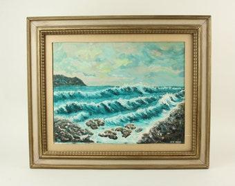 Vintage Oil Painting Mid Century Art Seascape Ocean Beach Sea Waves Rocks Canvas