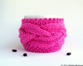 Hot Pink Tea Cozy, Neon Pink Coffee Sleeve, Tea Gifts, Coffee Cup Sleeve, Coffee Mug Cozy, Coffee Cup Cozy, Coffee Cozy, Coffee Cup Sleeves