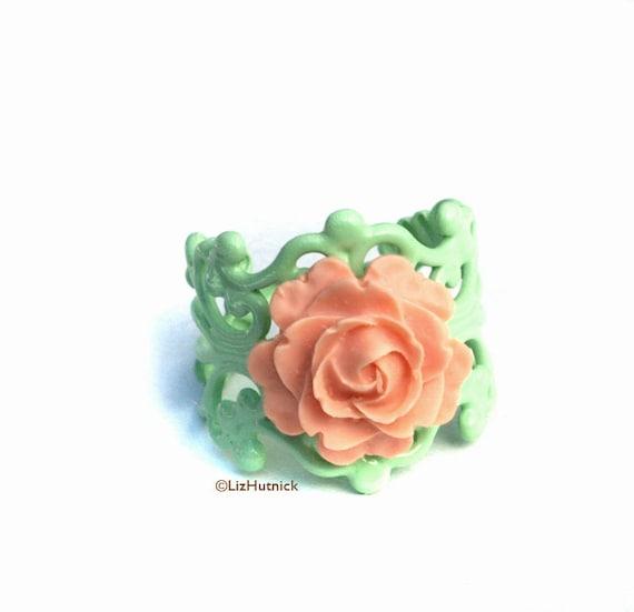 Fresh Peach Rose Ring. Mint Filigree. Vintage Style Adjustable Flower Ring.