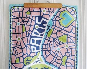 Tea Towel // Paris Map // Illustration // Vintage Style // Dish Towel // Housewares // Limited Edition // J'adore Paris // Eiffel Tower