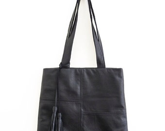 Black Leather Tote, Simple, Understated, Sustainable