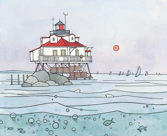 Maryland Lighthouse, Coastal Landscape Print - ink, watercolor, Chesapeake Bay 11x14