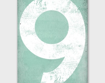 Mint Numeral Vintage-Style Gas Station Number  - Minty Gallery Wrapped Canvas Wall Art