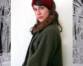 Hand Knit MILKMAID HEADDRESS in CARMINE / 10 Colors Available