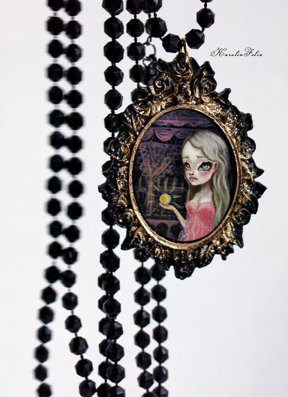 the Princess and the Pea - fairy tale cameo necklace with original art by Karolin Felix