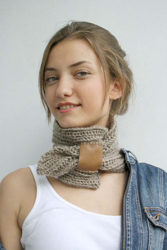 Milky Brown Mohair Brown Leather Bridge Scarf Collar Neckwarmer Gift for Mom Mothers Day gift