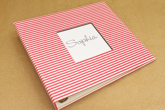 Baby  Book - Pink Stripes  (78 designed journaling pages & personalization included with every album)