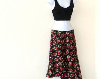 Slip Skirt - Cherry Blossoms - Black - Rockabilly - Strapless Dress - Asymmetrical - 90s - Asian - Cherries - Recycled - Ruffle - Feminine