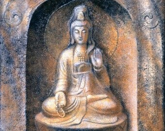 Goddess Kuan Yin meditation spiritual art female Buddha poster Zen Buddhism print of painting