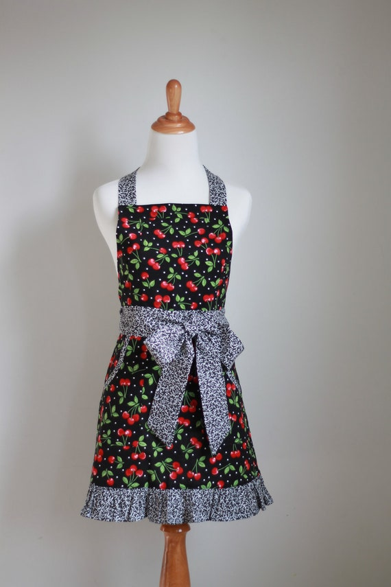 Ready to Ship Woman's Full Apron with Red Cherries and Black Dots - The CRAZY DAISY