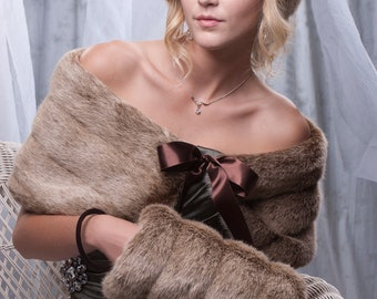 "10"" wide Frosted light brown faux fur custom wrap shawl and hand muff set Winter wedding shrug with hand warmer"