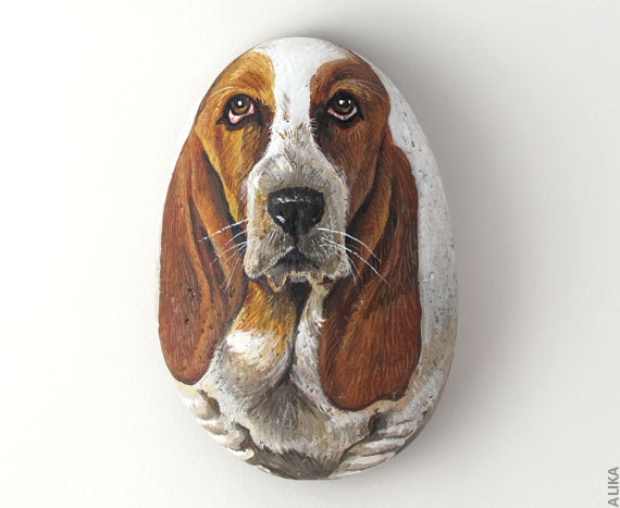 Basset Hound Dog Painted Rock Hand Painted Stone Rockpainting Art