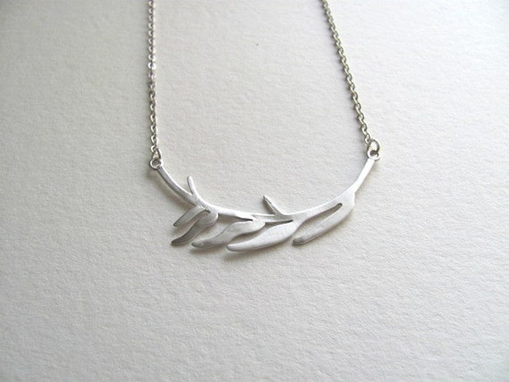 Delicate silver abstract branch pendant necklace on matte sterling silver plated chain