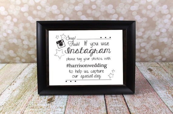 Instagram Wedding Sign With Hashtag Name Card