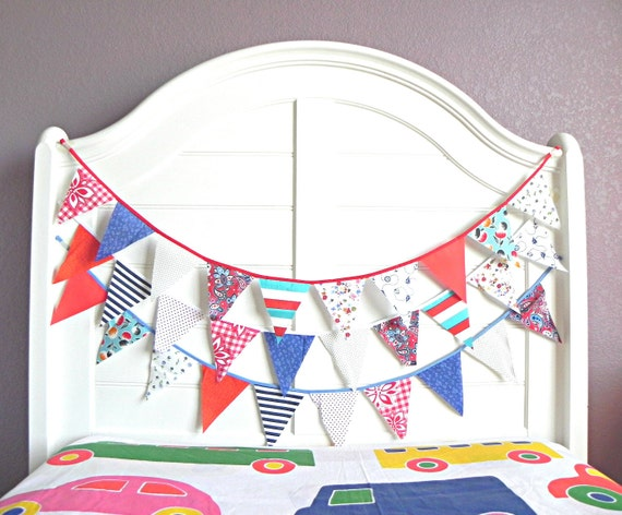 Patriotic Red White and Blue Bunting Garland
