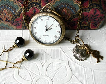 Watch Necklace Earring Set Antique Brass Watch Pendant & Earrings Set Alice in Wonderland Cheshire Cat White Rabbit Open Face Watch Pendant