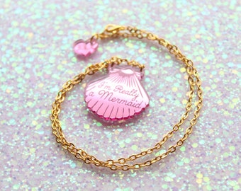 Mini Pink Shell Necklace / Mermaid Jewelry