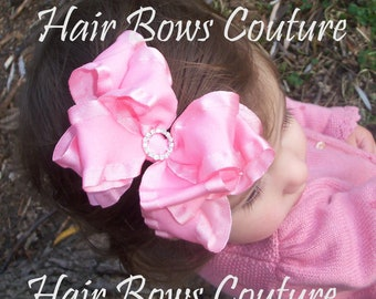 Pick Color- Fancy Double Ruffle Double Layered Stacked Hairbow with center rhinestone bling  Fancy Hairbows Toddlers Girls Red Black Brown