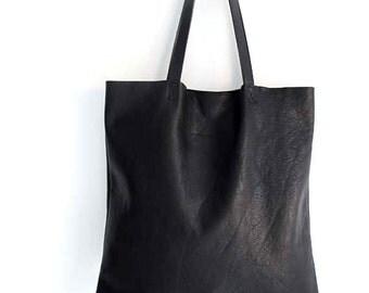 Gorgeous Supple Black Leather Tote Bag , Market Bag , Everyday Bag