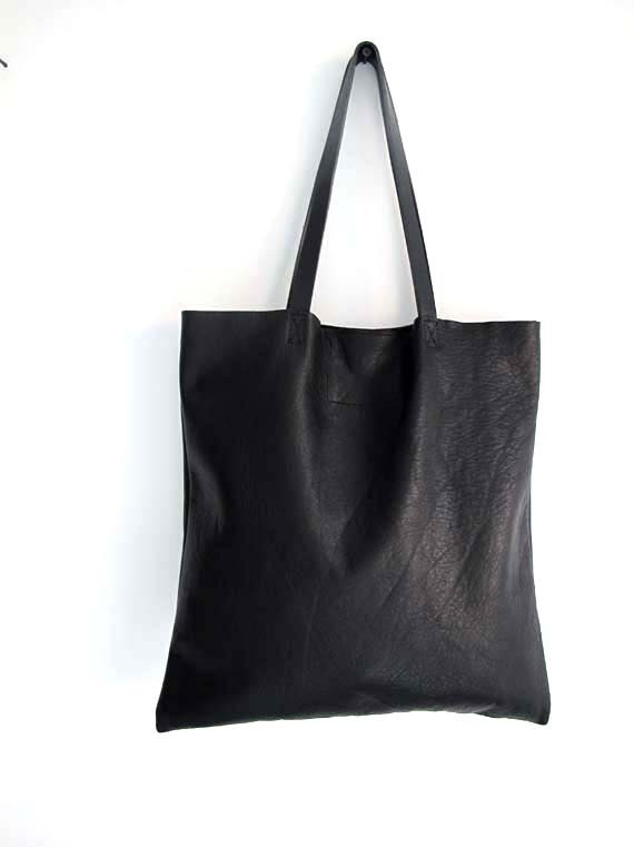 summer sale Gorgeous Supple Black Leather Tote Bag Market