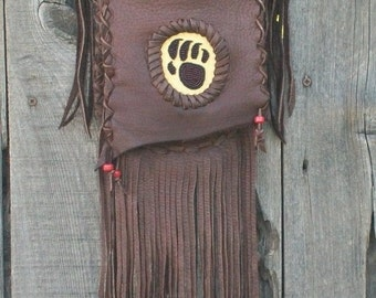 Bear claw totem crossbody bag ,  Fringed leather handbag ,  Brown fringed leather bag , Leather handbag