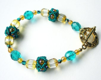 Turquoise and Yellow Handmade Beaded Beads Toggle Bracelet