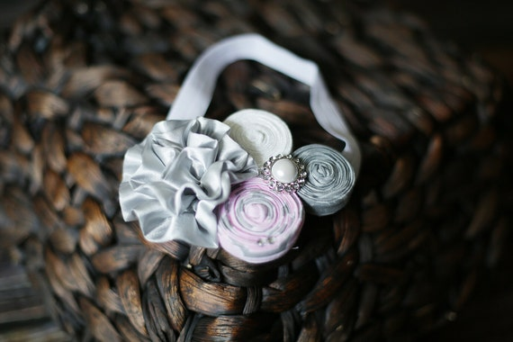 Couture Headband, Rosette Headband, Boutique Headband, Pink and Gray Headband, Newborn photography, baby photo prop, fabric flower headband